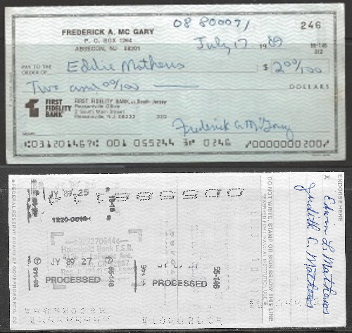 check to Mathews