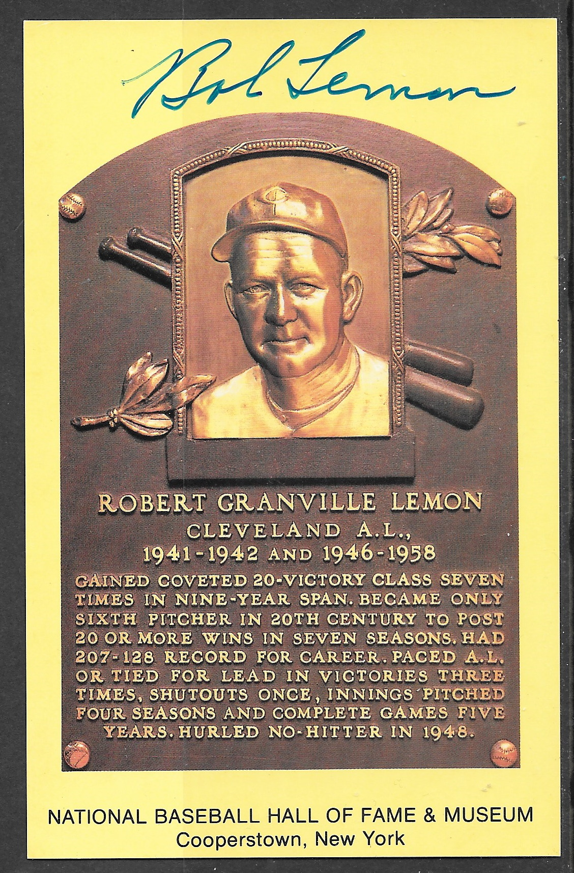 Robert Lemon plaque