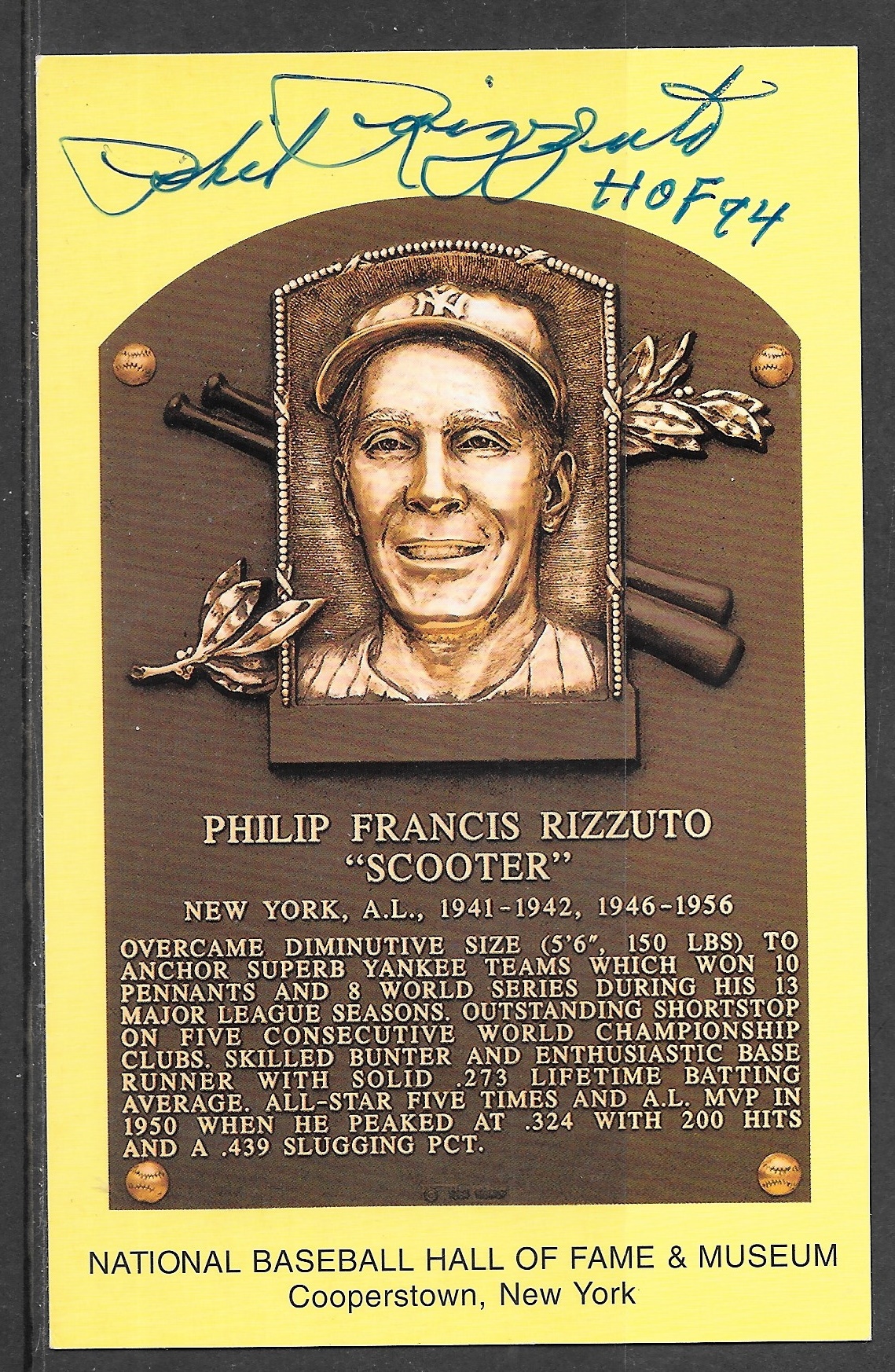 Phil Rizzuto plaque